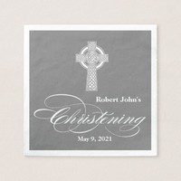 Celtic Cross Christening Personalized Napkin