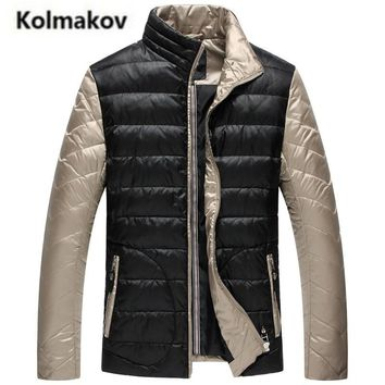 KOLMAKOV 2017 new winter men's high quality fashion stand collar casual down jacket,90% white duck down coats spliced parkas men