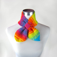 Ascot scarf rainbow knit bow scarf 50s style retro bowtie scarf bright colorful striped scarf