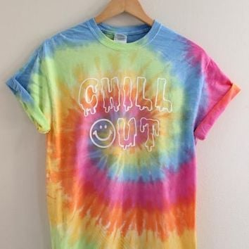 Chill Out Pastel Tie Dye Graphic Tee - Olivia Rose Inc