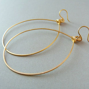 24K Gold Plated Large Handmade Hoop Earrings