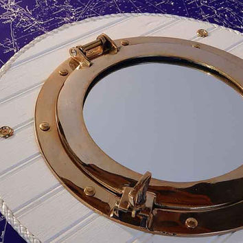 Brass Ship Porthole Wall Mirror - Nautical Vintage Decor - Seaside Beach - Beadboard Cottage - Sea Captain Port Hole - Marine Boat Rope