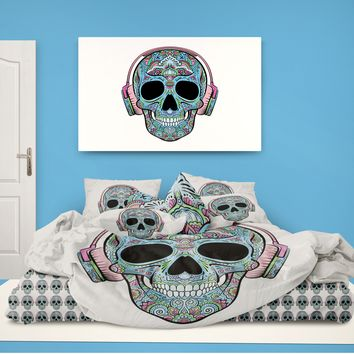 Skull with Headphones Comforter from Extremely Stoked Skull Bedding collection