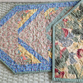 """Quilted Pastel Tablerunner, Table Topper, Centerpiece Mat, Tablecloth – Shabby Chic - Blue, Yellow, Pink, Green  - 43"""" x 15-1/2"""""""