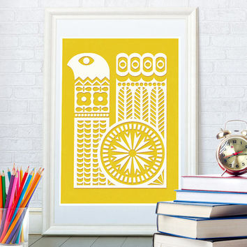 Scandinavian art print, Mid century modern, Folk ornament,  Kitchen home decor, Kids nursery poster