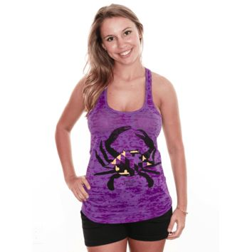 Purple & Gold Maryland Crab (Purple) / Ladies Burnout Racerback Tank