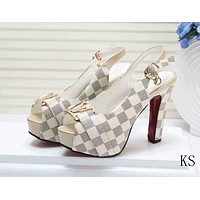 Louis Vuitton Women Fashion Leather Heels Sandals Shoes