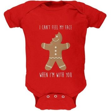 PEAPGQ9 Christmas Gingerbread Man Can't Feel My Face Soft Baby One Piece