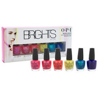 Brights by OPI Mini Nail Lacquers Pink Orange Yellow Blue Shimmer Bold 6pc Set