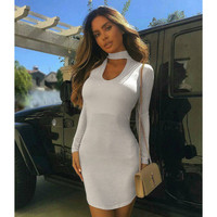 White Slim Fit Long Sleeve Round Necked One Piece Dress _ 11941