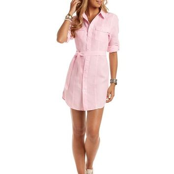 Bellini Safari Shirt Dress - Pink Linen Dress | Island Company
