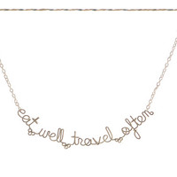 ON SALE - Eat Well Travel Often Necklace - Inspirational Jewelry - Quote Necklace