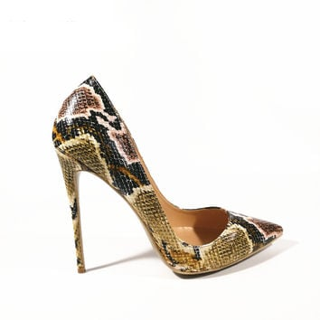 Sexy Snake Printed Sexy stilettos w Pointed Toe