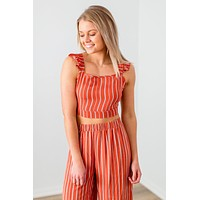 See You Truly Cropped Top- Rust