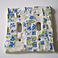 Blue and White Mosaic Switch Plate Cover - Double from EarthMotherMosaics