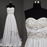 Custom White Beaded Applique Long Prom Dresses Evening Dresses Party Dress Homecoming Dresses Wedding Party Dresses Bridesmaid Dresses