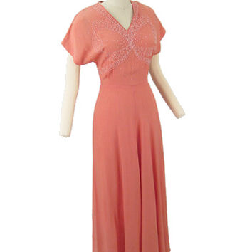 1940s Vintage Dresses 40s Coral Pink Beaded Evening Gown