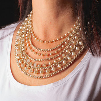 Vintage Multi Strand Bead and Chain Necklace