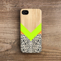 Geometric iPhone 5 case wood iPhone 4 case neon yellow green orange spots ink unique iphone 5 case retro iphone 4 case pattern /c87