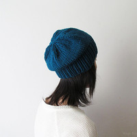 Waterfall Slouchy Hat, Hand Knit Chunky Slouch Hat, Women Knit Hat, Wool Blend Hat, Seamless Winter Beanie, Gift for Her, Made to Order