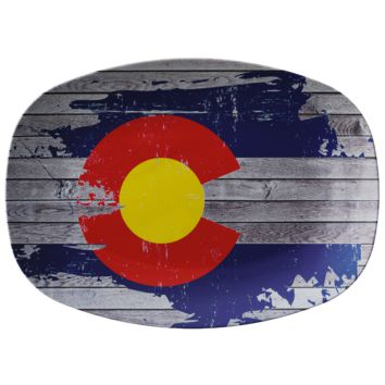 Painted Colorado Flag on Wood Printed on ThermoSaf Serving Plate