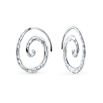 Boho Hammered Wire Spiral Hoop Threader Earrings 925 Sterling Silver