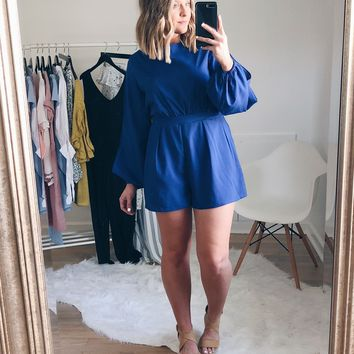 Remi Open Back Royal Blue Romper