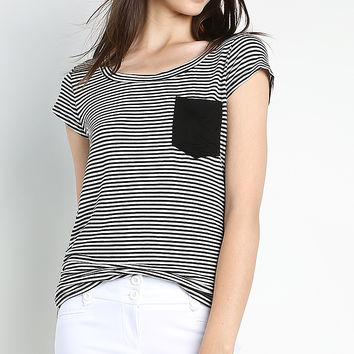 Stripe With Solid Pocket Top