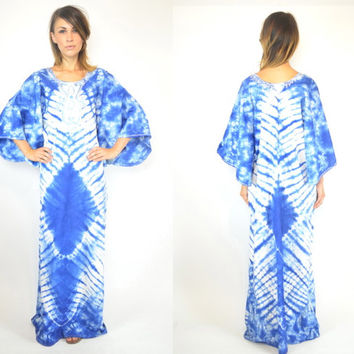 tie dyed BOHEMIAN gypsy EMBROIDERED maxi CAFTAN dashiki dress, one size fits most