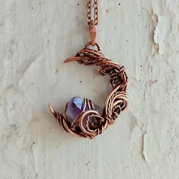Crescent Moon Amethyst necklace Moon necklace Elven necklace Copper necklace Gift for her Boho jewelry Wire wrapped Crystal necklace Boho.