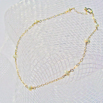 White Freshwater Pearl Anklet,  Pearl Ankle Bracelet, 14k Gold Filled, Sterling Silver, Beach Foot Jewelry, Bridesmaid Gift, Wedding Anklet