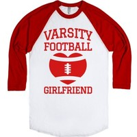 Varsity Football Girlfriend (red)-Unisex White/Red T-Shirt