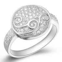 18K White Gold Plated Growing Vine Crystal Pave Cocktail Ring
