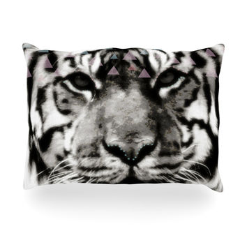"Suzanne Carter ""Tiger Face"" Gray Animal Oblong Pillow"
