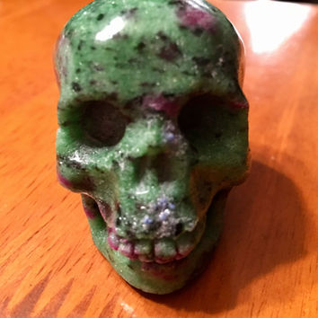 Ruby Zoisite Carved Skull