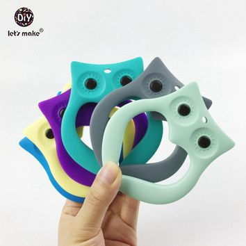 Let's make 2pcs Silicone Teether Hollow Heart Lovely Owl Shaped Natural Safe Baby Shower Nursing Necklace Material Baby Teether