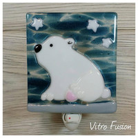 Nightlight - Lightnight - Special Order Isa Décembre. Bears. Fused glass. Gifts. Handmade