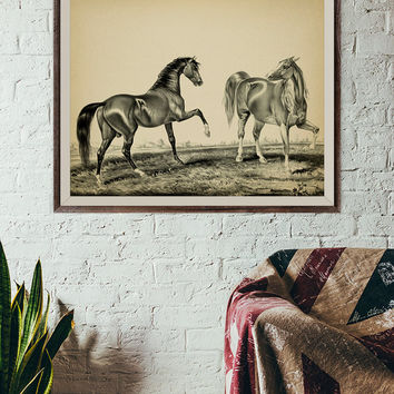 Antique Horse Printable, Vintage Horse Lithograph, Large Size horse Print, 2 horses, Classic Horse Wall Decor, Horse Wall Poster, 24x30 Inc