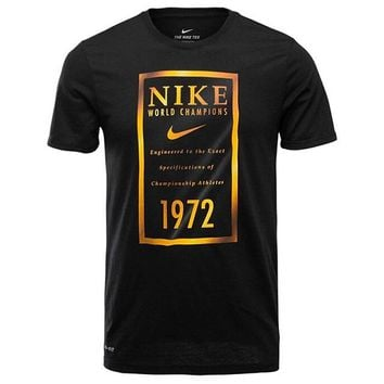 Nike Dri-FIT Banner Basketball Sports Casual Breathable Loose T-Shirt Short Sleeve Black gold logo