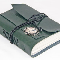 Forest Green Faux Leather Journal - Blank Paper - Faux Leather - Hand Bound Journal - Travel Journal - Art Journal - Bookmark - Cameo