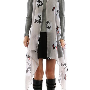 Gray Snowman Print Sheer Cover Up Poncho