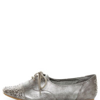 Not Rated Hot Stepper Pewter Studded Cap-Toe Oxfords - $49.00