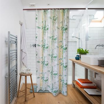Shower Curtain Liner Mildew Resistant Waterproof Bathroom Curtains 84 X 54 inches with 8 Hooks Free Bamboo Print