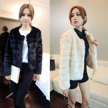 Winter Fur Coat Womens Slim Short Trench Faux Fur Jacket Hairy Overcoat Black White Multi-color 0102