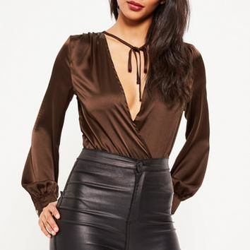Missguided - Brown Long Sleeve Tie Front Wrap Bodysuit