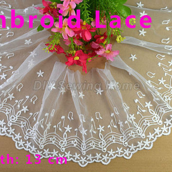 13cm width Cotton embroid sewing ribbon guipure lace trim or fabric warp knitting DIY Garment Accessories free shipping#2972