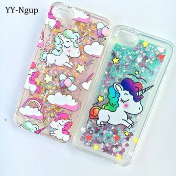 Etui for iPhone 5S Painted Cute Unicorn Stars Sequins Quicksand Phone Case on sFor Coque iPhone 5 5S SE Case Cover Capinha Women