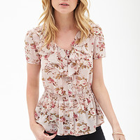 FOREVER 21 Ruffled Floral Chiffon Blouse Blush/Olive
