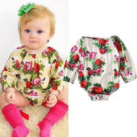 Newborn Infant Baby Girl Clothes Tops Long Sleeved Bodysuit Flower Cute Casual Jumpsuit Baby Girls Outfit Set 0-18 M