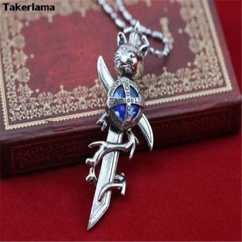 Katekyo Hitman Reborn Vongola Tsuna Famiglia Diamond Inspired Cosplay Necklace Mini Sword Prop Pendant Metal Alloy Necklace